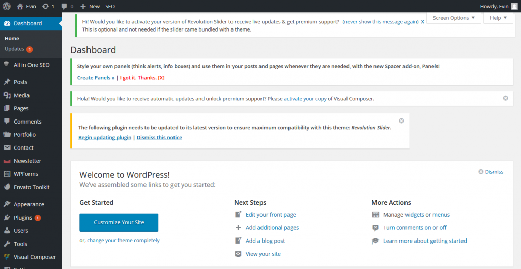 Dashboard — WordPress